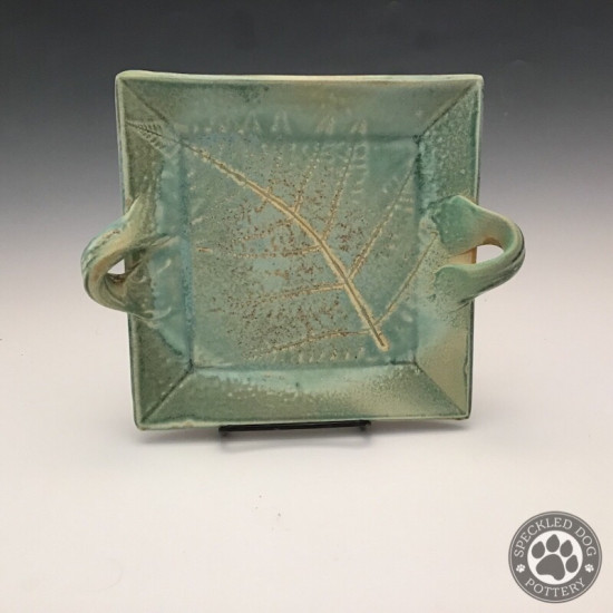 Small Square Fern Platter in Turquoise