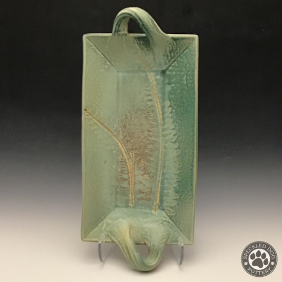 Large Rectangle Fern Tray in Turquoise