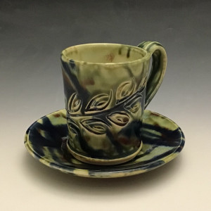 Cup & Saucer in Green #2 4oz