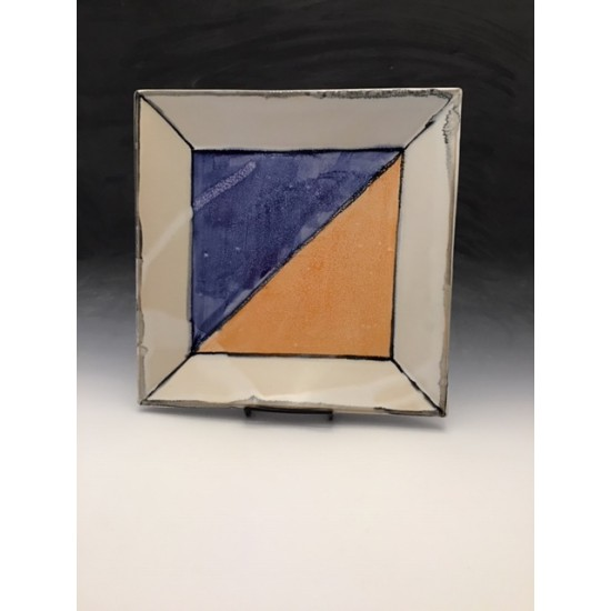Square Tray in Orange and Blue